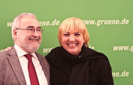 Foto: Besuch des Tibetischen Premierministers Dr. Lobsang Sangay in Berlin zu sehen sind Wolfgang Grader und Claudia Roth